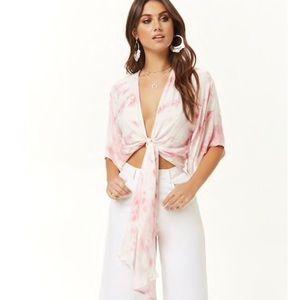 Tops - NWT $50 Tie Dye Wrap Tie Front Crop Top